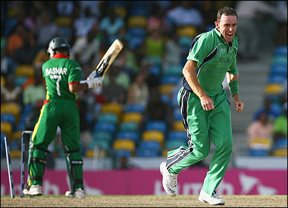 Johnston celebrates as he bowls Habibul Bashar to seal Ireland's win