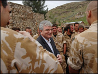 Des Browne with troops in Afghanistan
