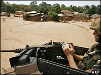 French peacekeeper in buffer zone village of Kongonou