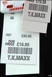 TK Maxx price tags, PA