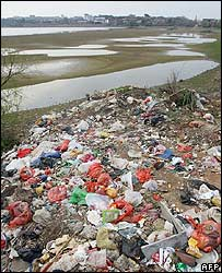 Rubbish beside Poyang Lake, connected to the Yangtze River, in China's Jiangxi province