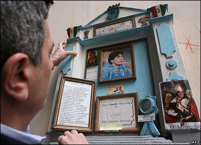 Fan with altar for Maradona