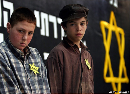 Israeli children mark a remembrance for the Holocaust