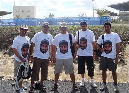 "Bhavin Shah: ""This is a picture of me and my friends before the England v Australia game in Antigua. We made these Monty shirts using the BBC mask before we left and attracted lots of attention!"""