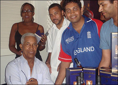 Bhavin also sent in this shot of him and his friend meeting Sir Garfield Sobers in Barbados at Ship Inn