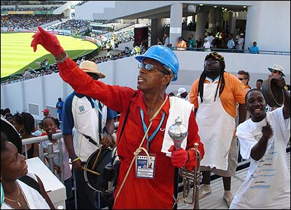 Fabian's third photo shows entertainer, Mac Fingall of Barbados and his 'band', motivating the crowd at the Kensington Oval during Bangladesh's match with Ireland