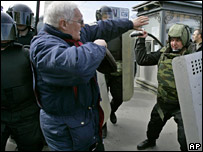 Demonstrators in St Petersburg, Russia, on Sunday