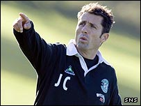 Hibernian manager John Collins points the way forward