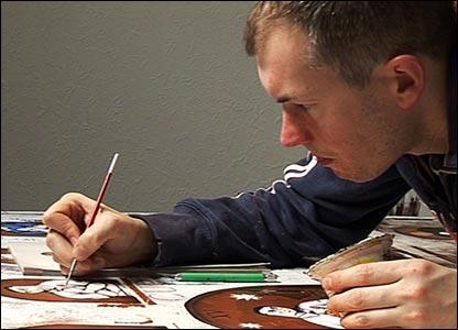 Artist Paine Proffitt at work