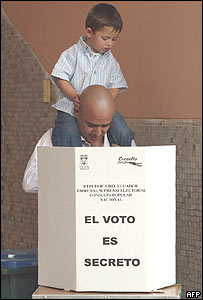 Votante en Ecuador.