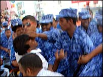 Photo which opposition says shows Maldives police assaulting its leader