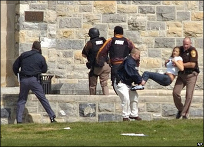 Police help students at Virginia Tech after shootings