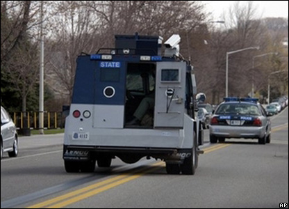 Armoured vehicle at Virginia Tech after shootings