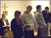 Virginia Tech students pray in Blacksburg