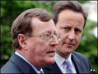 New member: David Trimble with Tory leader David Cameron