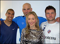 Noreena Hertz with members of Reading FC