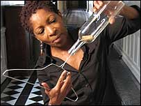 Bonnie Greer taking the bottle test