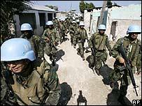 Minustah peacekeepers in a Haitian slum