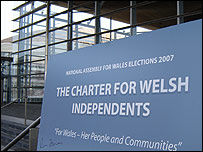 Independents' charter sign outside the Senedd