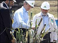 Los presidente George W. Bush, de EE.UU., y Lula de Brasil, junto al presidente de Petrobras, inspeccionan un corte de caña durante la visita del presidente Bush a Brasil en marzo