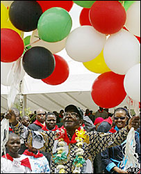 President Robert Mugabe at his birthday party in February