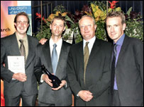 Dr Mark Steer (left), Dr David Hall (second to left) and Dr Andrew Impey (right)