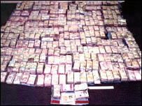 Some of the cash recovered during the investigation