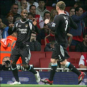DaMarcus Beasley celebrates scoring for Manchester City