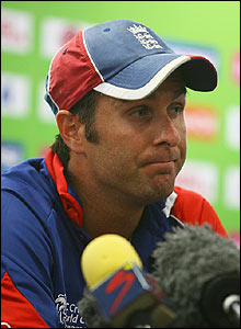 A shattered Michael Vaughan chats to the media