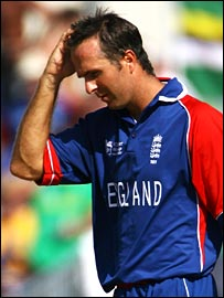 Michael Vaughan shows the strain