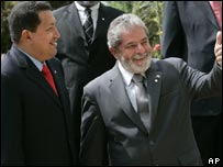 Presidents Chavez (left) and Lula da Silva