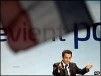 Nicolas Sarkozy makes a speech in Metz, eastern France