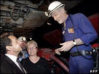 Sarkozy talks to miners