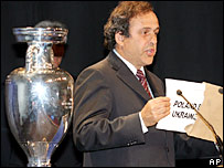 Uefa president Michael Platini reveals the surprise hosts of Euro 2012