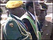 President Mugabe during the independence celebrations (screen grab)
