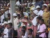 Crowds listening to Mr Mugabe's speech