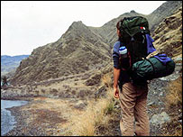 A woman backpacker