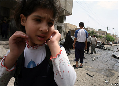 A girl on the street near the Karrada bomb site