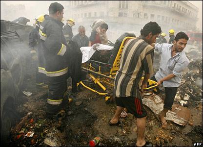 Body being removed from the Sadriya blast site