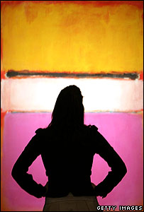 Rothko's White Centre (Yellow, Pink and Lavender on Rose) is viewed at Sotheby's gallery in London
