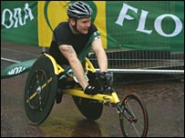 David Weir crosses the finish line in last year's race