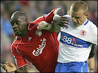 Liverpool midfielder Momo Sissoko (left) and Boro rival Lee Cattermole