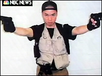 Screen grab of picture of Cho Seung-hui that he sent to NBC News. Picture from NBC News