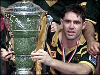 Australia captain Brad Fittler celebrates World Cup success in 2000