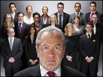 Sir Alan Sugar with the candidates