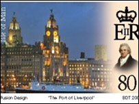 The Port of Liverpool stamp, copyright Isle of Man post office