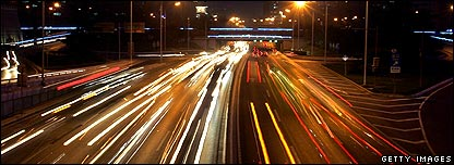 Cars speeding on a motorway