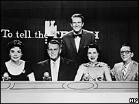Kitty Carlisle Hart (second from right) and the other panellists from To Tell the Truth