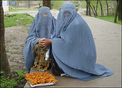 Women waiting outside the maternal hospital in Faizabad