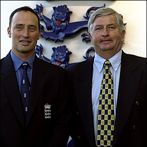 Newly-appointed England captain Nasser Hussain (left) and coach Duncan Fletcher